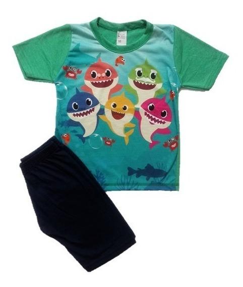 Conjunto Infantil Menino Baby Shark Tubarão Roupa Tam 1 A 7