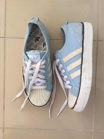 Tênis adidas Nza Em Lona Azul Claro E Branco Usado Uma Vez