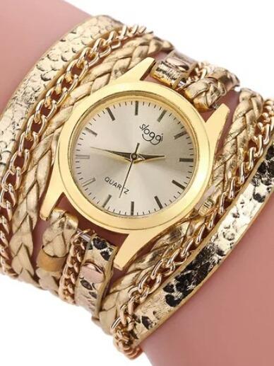 Relógio Quartzo Pulseira De Couro Fake Trançado Feminino
