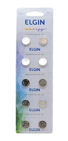 10 Pilhas Botão Bateria Elgin Lr54 Ag10 Alcalina Original