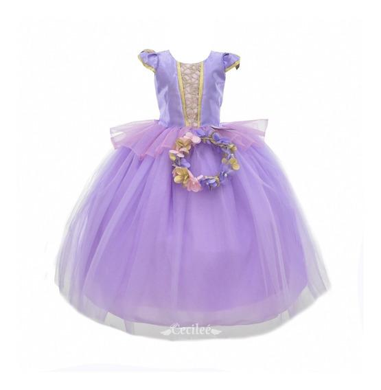 Vestido Elegante Para Ceremonia Niña Rapunzel