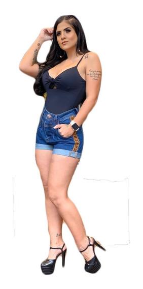 Shorts Cintura Alta Jeans Faixa Feminino C/ Lycra Verão