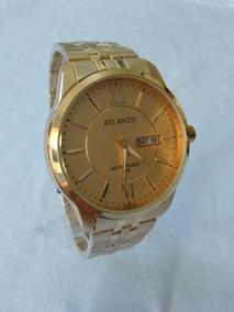 Relogio Dourado Masculino Atlantis G-3455 Social Original.
