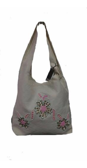 Bolso Shopping Morral Cartera Blanco Con Flores Oferta !!