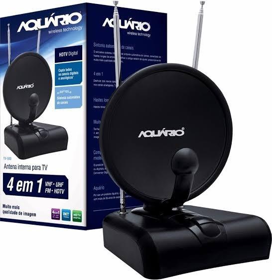 Antena Digital Interna 4 Em 1 Vhf/uhf/hdtv/fm Tv-500 Aquário