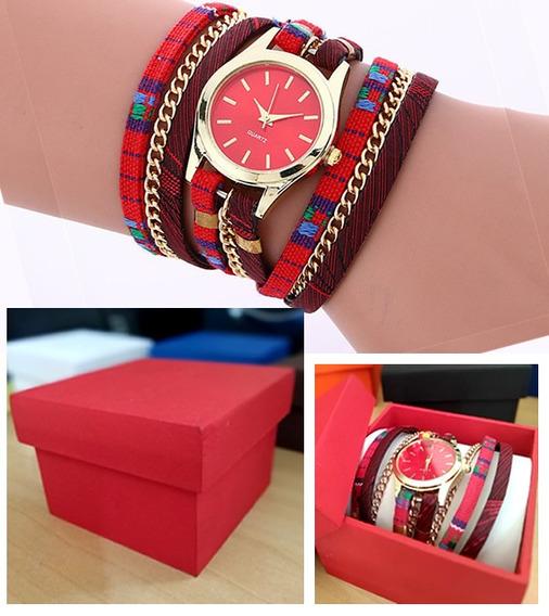 Pulseira Fashion Vemelha Com Relógio Quartz + Caixinha Mdf