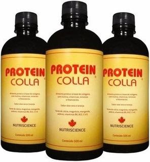 Kit 3 Proteincolla Colágeno Hidrolisado Nutriscience 500ml