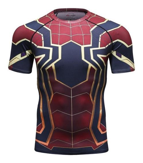 Camisa Compresion Marvel Avengers Endgame Spiderman Iron Spider Playera Hombre Manga Corta Licra Crossfit Gym Rashguard