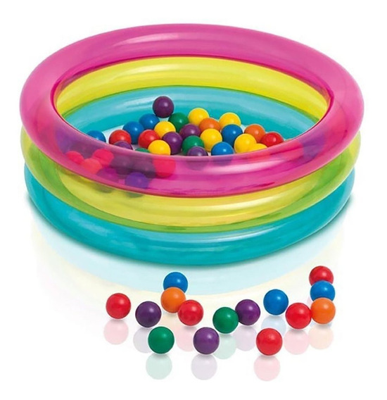 Piscina Bolinhas Infantil Inflável Rainbow Com 50 Bolinhas