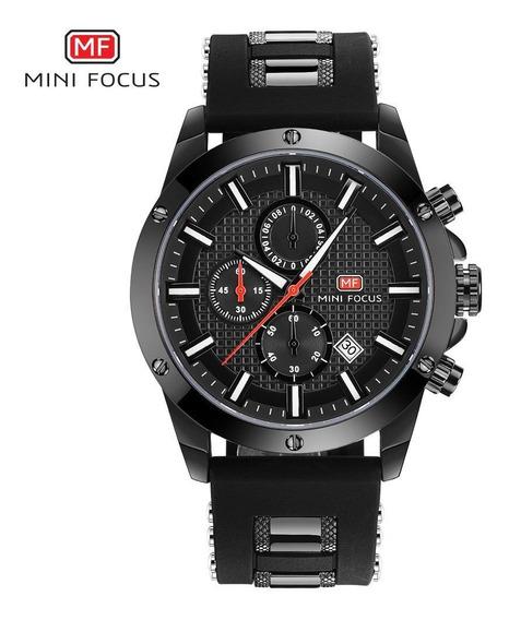 Relógio Minifocus Original Preto Com Nf E Garantia