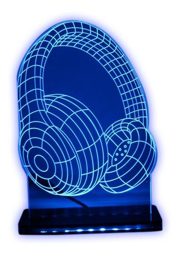 Imagem 1 de 9 de Luminária Led 3d - Fone De Ouvidos - Abajur Decorativo
