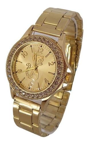 Relógio Dourado Feminino Gato Brilhante Blogueiras Estudante