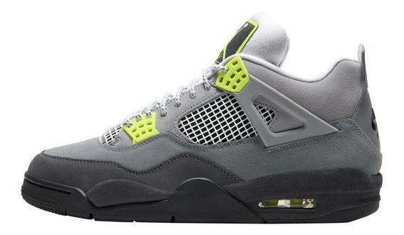 Tenis Air Jordan 4 Retro Se 95 Neon Cool Grey/volt-wolf