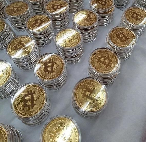 10 Moedas Bitcoin Física Ouro Edição Comemorativa