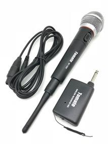 Microfone Sem Fio Profissional Karaokê Metal Receptor Pilha