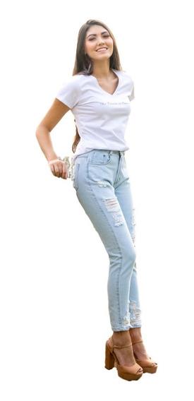 Calça Jeans Mom Destroyed Dia E Noite