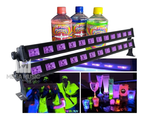 2 Ribalta Barra 12 Led Luz Negra Uv 40w Efeito Neon + 3tinta