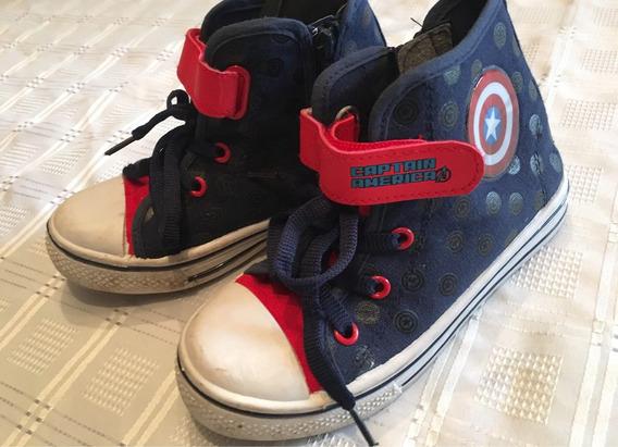 Zapatillas Botita Capitán América Marvel Talle 32 Buen Estad