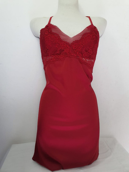 Lencería Mujer Camison Rojo Con Encaje Superior Licm-r1