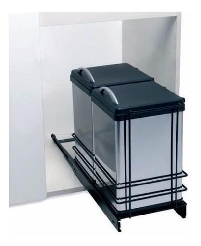 Cubo Cesto Doble Para Residuos Fark Acero Inox. 2x12lts