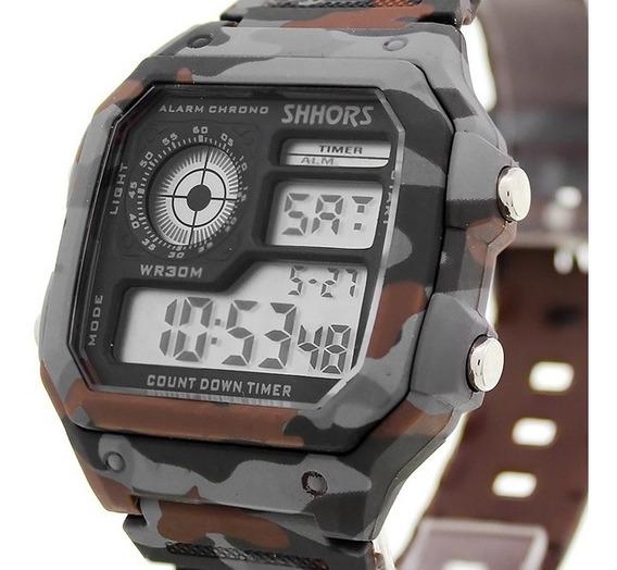 Reloj Hombre Militar Camuflaje Deportivo Cronometro Alarma Luz Led Fecha Reloj De Pulsera Camuflaje - Cafe Con Gris