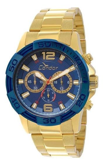 Relógio Condor Masculino Cronógrafo Dourado/azul Covd54aa/4a