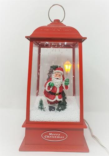 Imagen 1 de 3 de Farol Navideño Rojo Santa Claus Luz Led Y Caída De Nieve