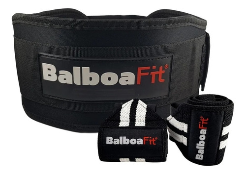 Kit Fitness Cinturon + Muñequeras Balboafit Gimnasio Gym