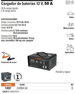 Cargador De Bateria 12 V, 50 A Truper