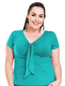 Roupa Feminina Blusa Bata Amarração Frontal Plus Size 56+