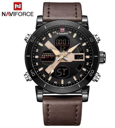 Relógio Masculino Naviforce Anadigi Pulseira Couro Original