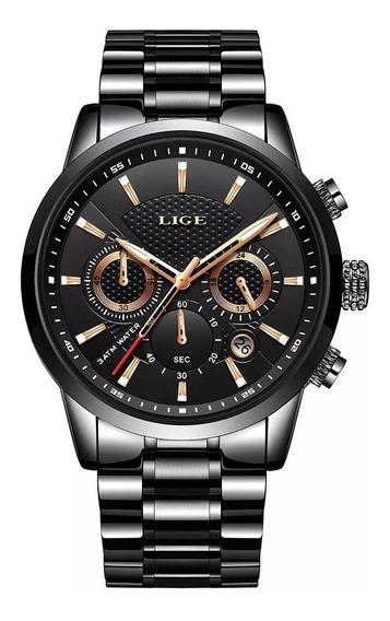 Relógio Masculino Preto Luxo Lige 9866 Em Aço Promoção