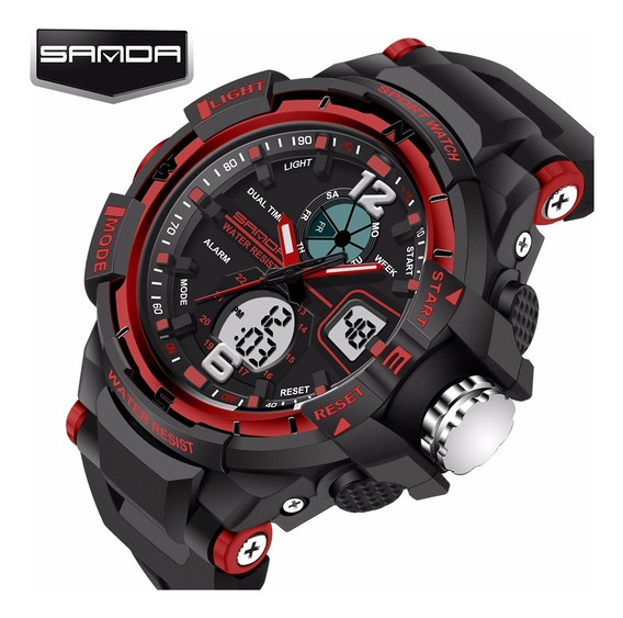 Relógio Masculino Barato Digital -shock Esportivo Racer Led