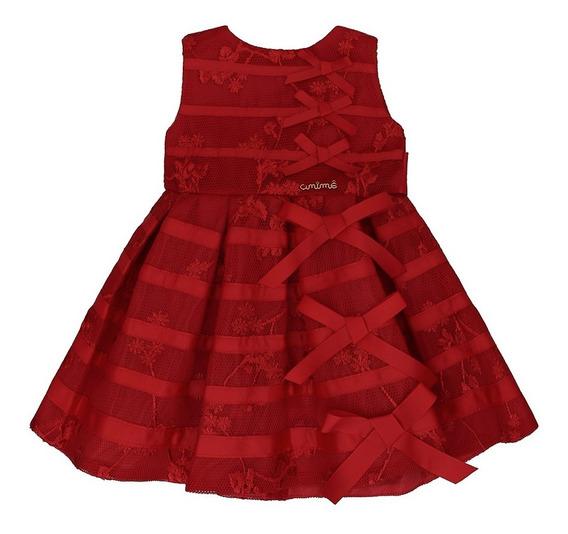Vestido Infantil Tela Bordado Vermelho