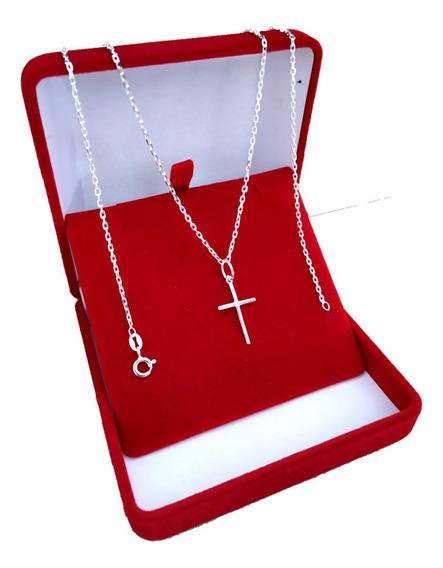 Cordão Italiano Fino Cartier 70 Cm 925 + Pingente Crucifixo