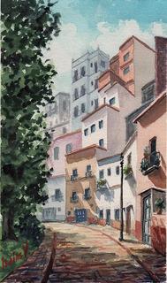 Calle Del Cantador - Isaías Velázquez - Acuarela