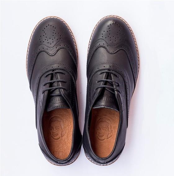 Zapatos Justicialistas Mujer 1947 Negros Cuero Argentino