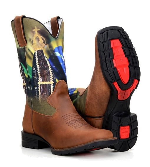 Bota Country Masculina Texana Rodeio Lona Cavalo Western 4zt