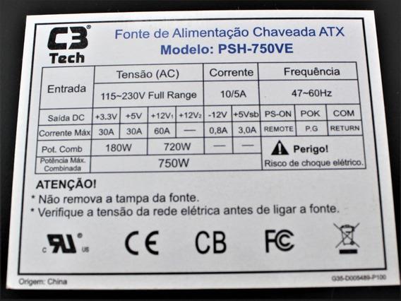 Fonte Atx 750w Reais C3tech Psh750ve