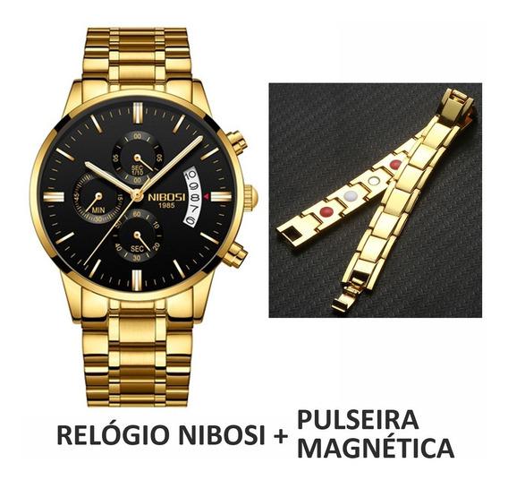 Kit Relógio Nibosi 2309 Original + Pulseira Magnética Dourad