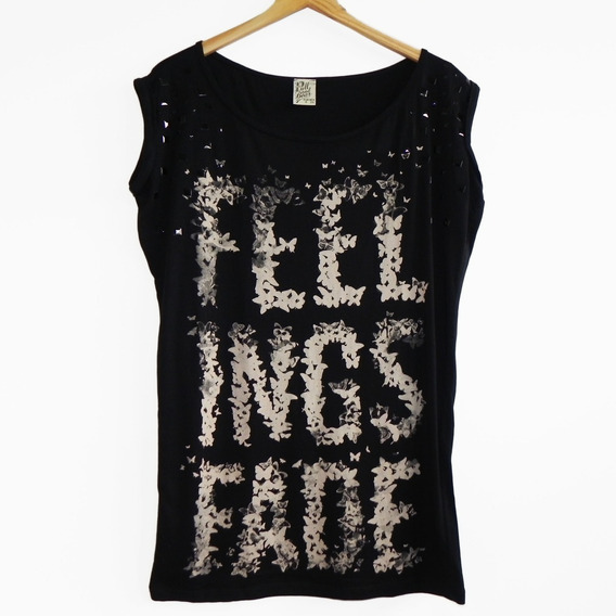 Remera Negra Dibujos Y Apliques Pull & Bear (impecable!) #rm