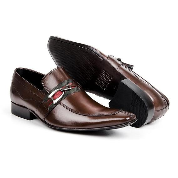 Sapato Social Masculino Em Couro De Calçar Bico Fino Marrom