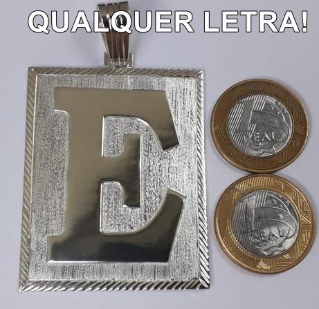 Pingente Prata 925 Maciça. Modelo De Letra 6x5cm. Original!