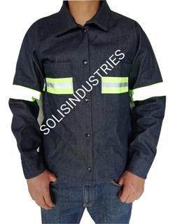 Camisola Seguridad Trabajo Mezcilla 9oz C/reflejante Plastif