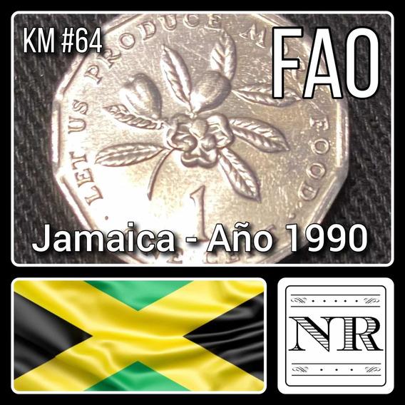 Jamaica - 1 Cent - Año 1990 - Km # 64 - Flores - F. A. O