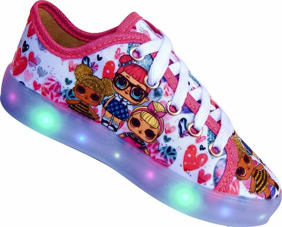 Tênis Led Feminino Infantil Sapato Brilha Barato Promoção #