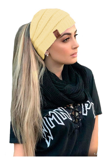 Touca Gorro De Lã Com Furo Para Rabo Cavalo Feminina Ref:993