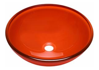 Bacha Baño Apoyo 40 Cm Vidrio Color Naranja