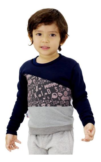 Sweater Niño Momo Kids Azul Gris Detal Mayor Oferta