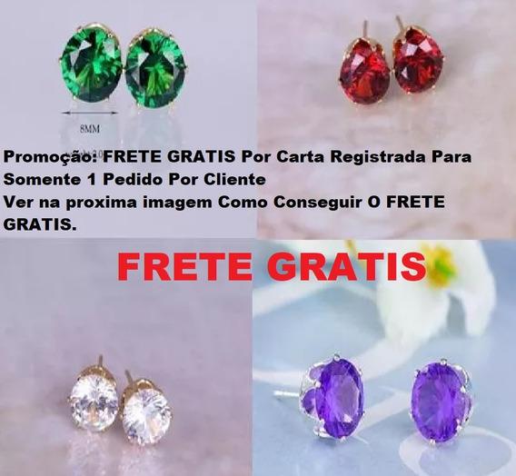 Kit 6 Brincos De Prata Ou Ouro, Com Pedras 1 Par De Cada Cor